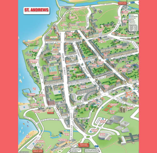 英国圣安德鲁斯旅游地图高清版
